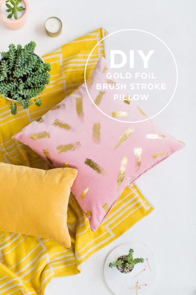 Creative DIY Gifts for Older Girls, Teens - DIY Gold Foil Brush Stroke Pillow - Cute Crafts and DIY Projects that Make Cool DYI Gift Ideas for Young and Older Girls, Teens and Teenagers - Awesome Room and Home Decor for Bedroom, Fashion, Jewelry and Hair Accessories - Cheap Craft Projects To Make For a Girl -DIY Christmas Presents for Tweens #diygifts #girlsgifts
