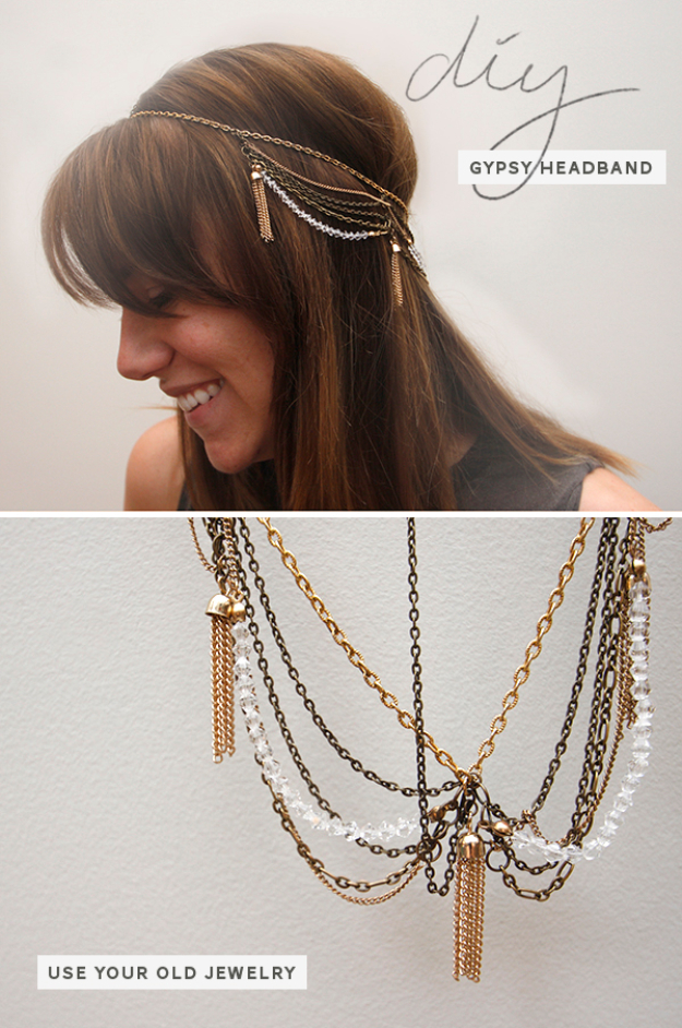 Jewelry DIY Gifts for Girls - DIY Gypsy Chain Headband - Cute Crafts and DIY Projects that Make Cool DYI Gift Ideas for Young and Older Girls, Teens and Teenagers - Awesome Room and Home Decor for Bedroom, Fashion, Jewelry and Hair Accessories - Cheap Craft Projects To Make For a Girl -DIY Christmas Presents for Tweens #diygifts #girlsgifts