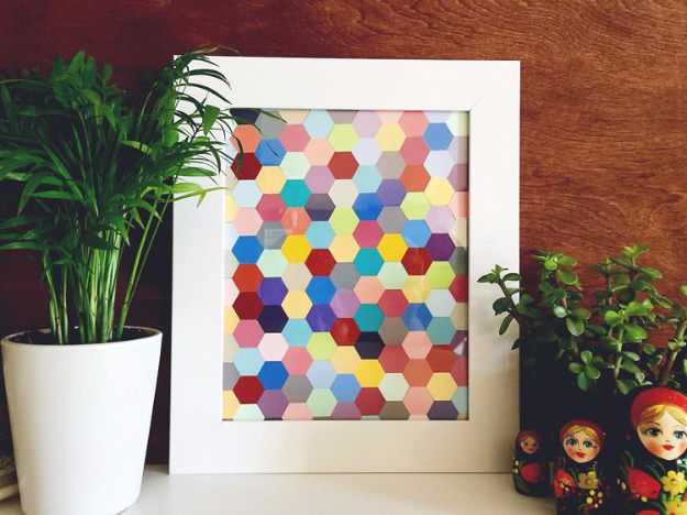 DIY Projects Made With Paint Chips - DIY Hexagon Framed Art - Best Creative Crafts, Easy DYI Projects You Can Make With Paint Chips - Cool Paint Chip Crafts and Project Tutorials - Crafty DIY Home Decor Ideas That Make Awesome DIY Gifts and Christmas Presents for Friends and Family #diy #crafts #paintchip #cheapcrafts