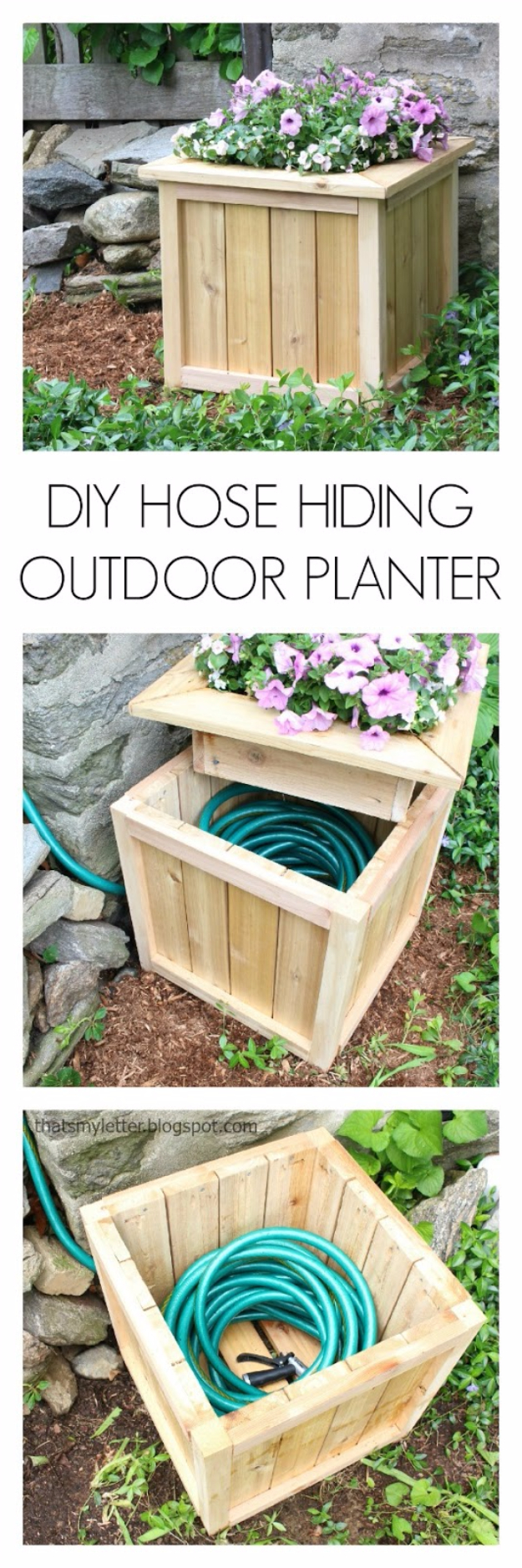 DIY Landscaping Hacks - DIY Hose Hiding Outdoor Planter - Easy Ways to Make Your Yard and Home Look Awesome in Fall, Winter, Spring and Fall. Backyard Projects for Beginning Gardeners and Lawns - Tutorials and Step by Step Instructions