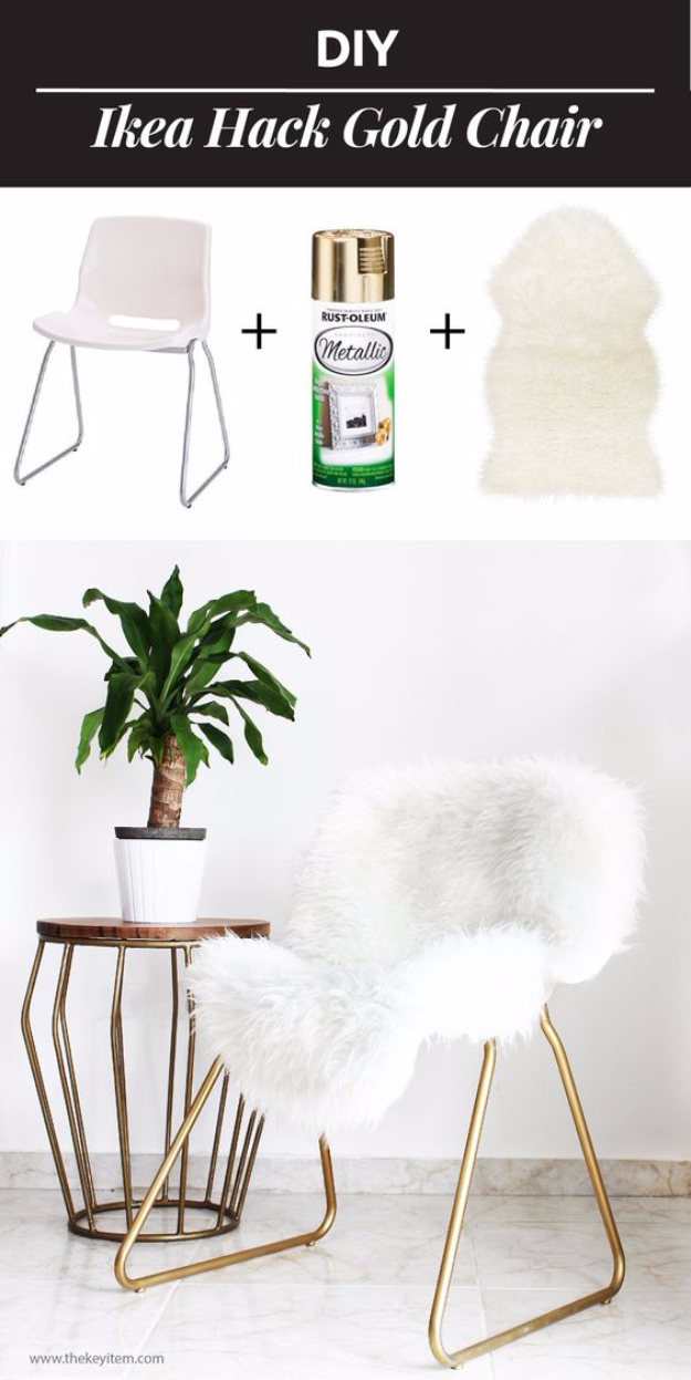 Best IKEA Hacks and DIY Hack Ideas for Furniture Projects and Home Decor from IKEA - DIY IKEA Hack Gold Chair - Creative IKEA Hack Tutorials for DIY Platform Bed, Desk, Vanity, Dresser, Coffee Table, Storage and Kitchen, Bedroom and Bathroom Decor #ikeahacks #diy