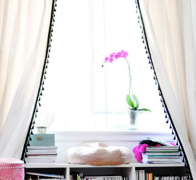 Best IKEA Hacks and DIY Hack Ideas for Furniture Projects and Home Decor from IKEA - DIY IKEA Hacked Curtain With Tassel Fringe - Creative IKEA Hack Tutorials for DIY Platform Bed, Desk, Vanity, Dresser, Coffee Table, Storage and Kitchen, Bedroom and Bathroom Decor #ikeahacks #diy