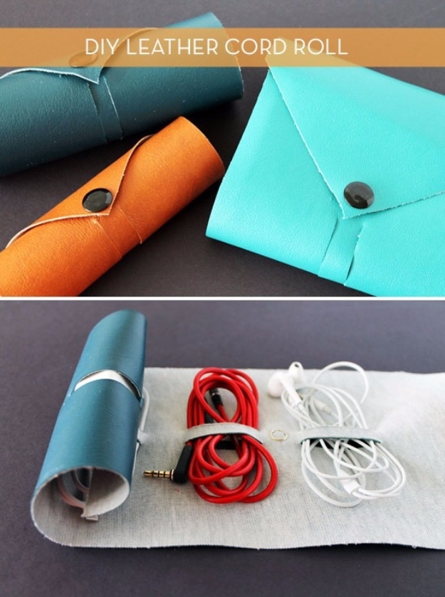 DIY Gifts for Dad - DIY Leather Cord Roll - Best Craft Projects and Gift Ideas You Can Make for Your Father - Last Minute Presents for Birthday and Christmas - Creative Photo Projects, Gift Card Holders, Gift Baskets and Thoughtful Things to Give Fathers and Dads #diygifts #dad #dadgifts #fathersday