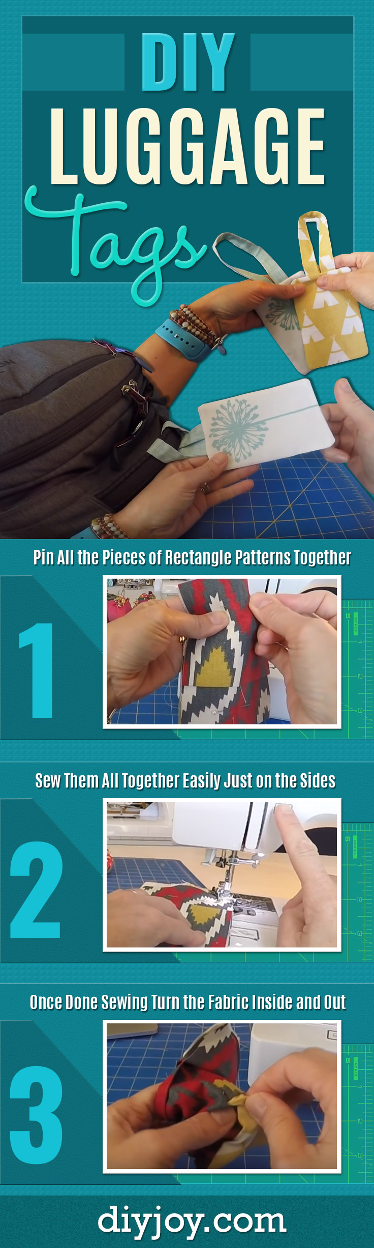 Easy To Make DIY Luggage Tags - Cheap and Quick Gift Idea and Easy Sewing Tutorial - Easy DIY Gifts for Friends and Family Who Like To Travel