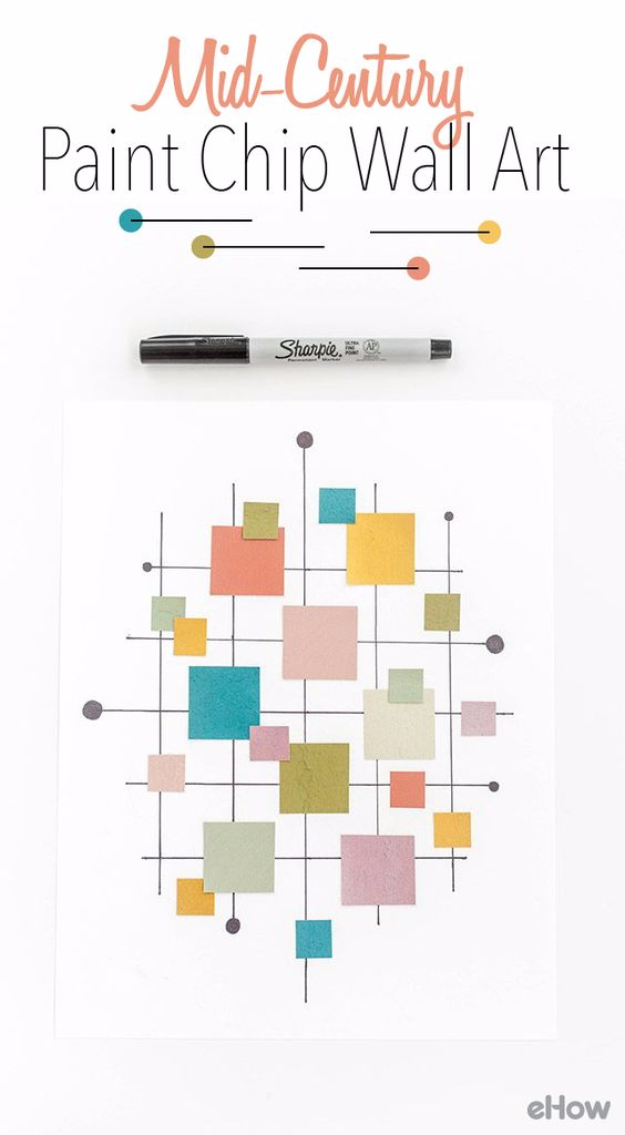 DIY Projects Made With Paint Chips - DIY Mid-Century Inspired Paint Chip Wall Art Print - Best Creative Crafts, Easy DYI Projects You Can Make With Paint Chips - Cool Paint Chip Crafts and Project Tutorials - Crafty DIY Home Decor Ideas That Make Awesome DIY Gifts and Christmas Presents for Friends and Family #diy #crafts #paintchip #cheapcrafts