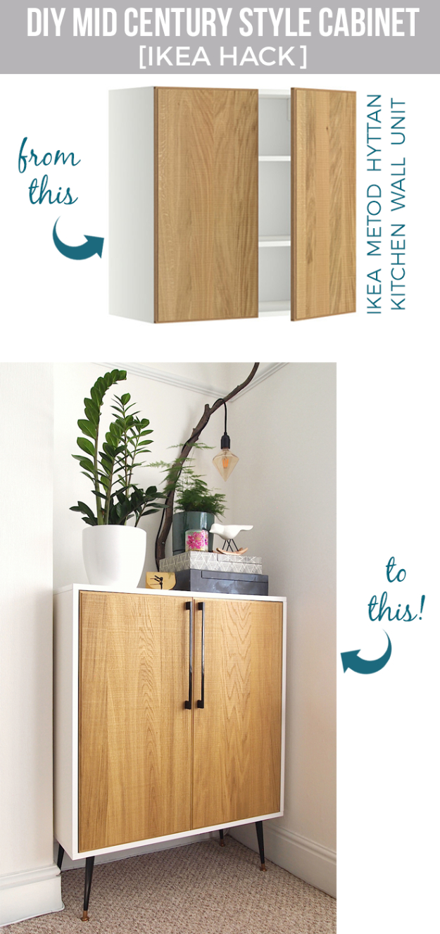 Best IKEA Hacks and DIY Hack Ideas for Furniture Projects and Home Decor from IKEA - DIY Mid Century Style Cabinet - Creative IKEA Hack Tutorials for DIY Platform Bed, Desk, Vanity, Dresser, Coffee Table, Storage and Kitchen, Bedroom and Bathroom Decor #ikeahacks #diy