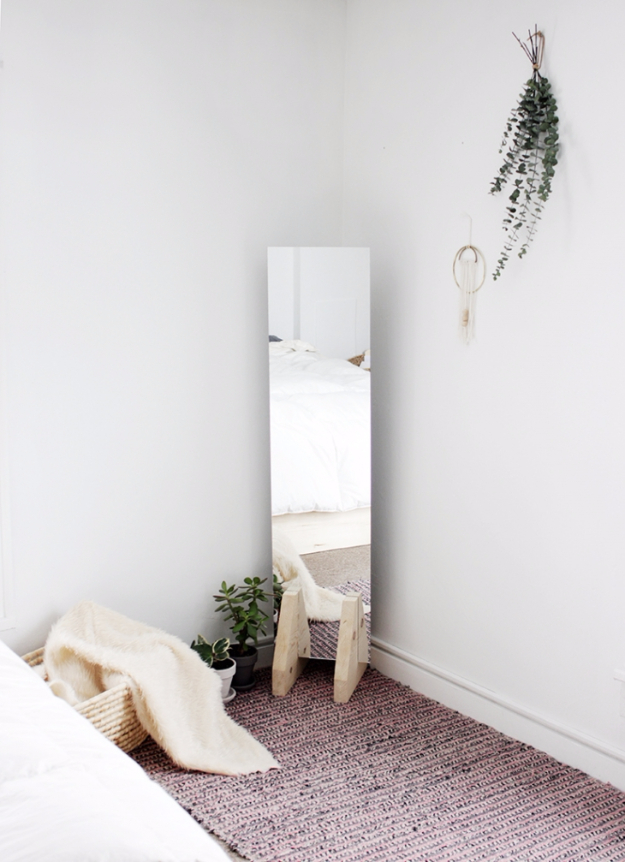DIY Mirrors - DIY Minimal Floor Mirror - Best Do It Yourself Mirror Projects and Cool Crafts Using Mirrors - Home Decor, Bedroom Decor and Bath Ideas - Step By Step Tutorials With Instructions