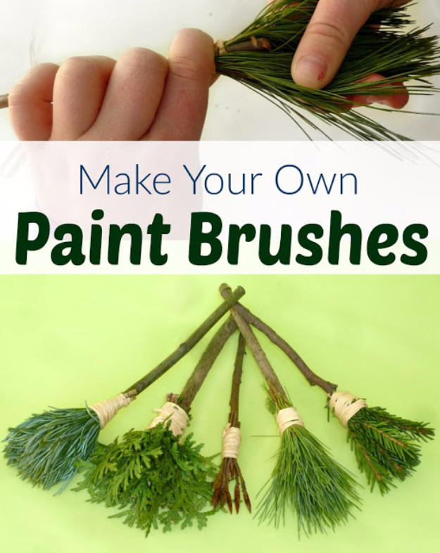 Crafts For Kids To Make At Home - DIY Nature Paint Brushes for Kids - Cheap DIY Projects and Fun Craft Ideas for Children - Cute Paper Crafts, Fall and Winter Fun, Things For Toddlers, Babies, Boys and Girls #kidscrafts #crafts #kids