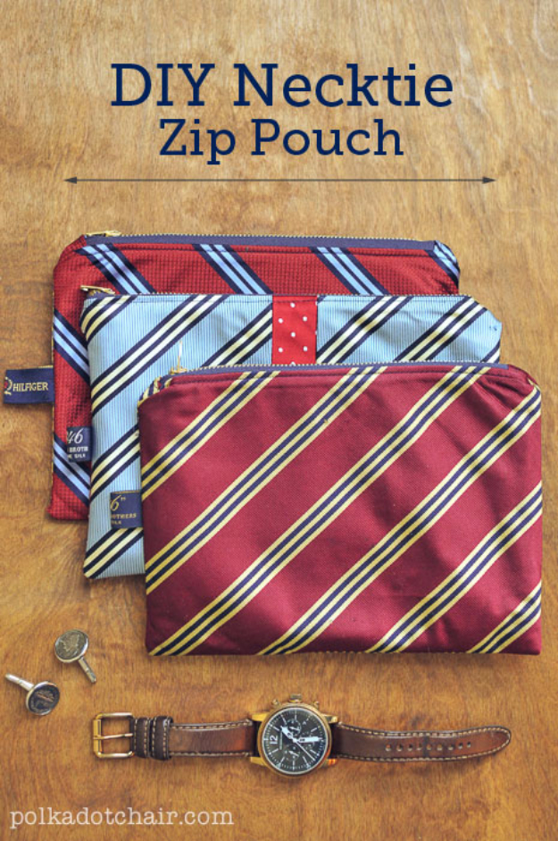 DIY Gifts for Dad - DIY Necktie Zip Pouch - Best Craft Projects and Gift Ideas You Can Make for Your Father - Last Minute Presents for Birthday and Christmas - Creative Photo Projects, Gift Card Holders, Gift Baskets and Thoughtful Things to Give Fathers and Dads #diygifts #dad #dadgifts #fathersday