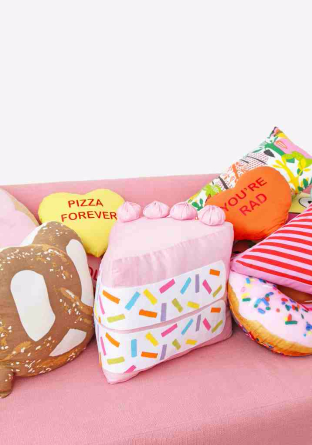 Cute DIY Gifts for Girls Bedroom - DIY No Sew Funfetti Cake Slice Pillow - Cute Crafts and DIY Projects that Make Cool DYI Gift Ideas for Young and Older Girls, Teens and Teenagers - Awesome Room and Home Decor for Bedroom, Fashion, Jewelry and Hair Accessories - Cheap Craft Projects To Make For a Girl -DIY Christmas Presents for Tweens #diygifts #girlsgifts
