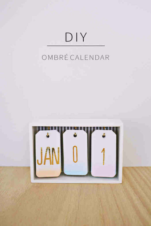Best DIY Gifts for Girls - DIY Ombre Calendar - Cute Crafts and DIY Projects that Make Cool DYI Gift Ideas for Young and Older Girls, Teens and Teenagers - Awesome Room and Home Decor for Bedroom, Fashion, Jewelry and Hair Accessories - Cheap Craft Projects To Make For a Girl -DIY Christmas Presents for Tweens #diygifts #girlsgifts