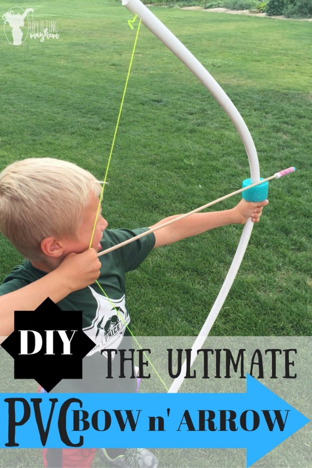 Crafts For Kids To Make At Home - DIY PVC Bow And Arrow - Cheap DIY Projects and Fun Craft Ideas for Children - Cute Paper Crafts, Fall and Winter Fun, Things For Toddlers, Babies, Boys and Girls #kidscrafts #crafts #kids