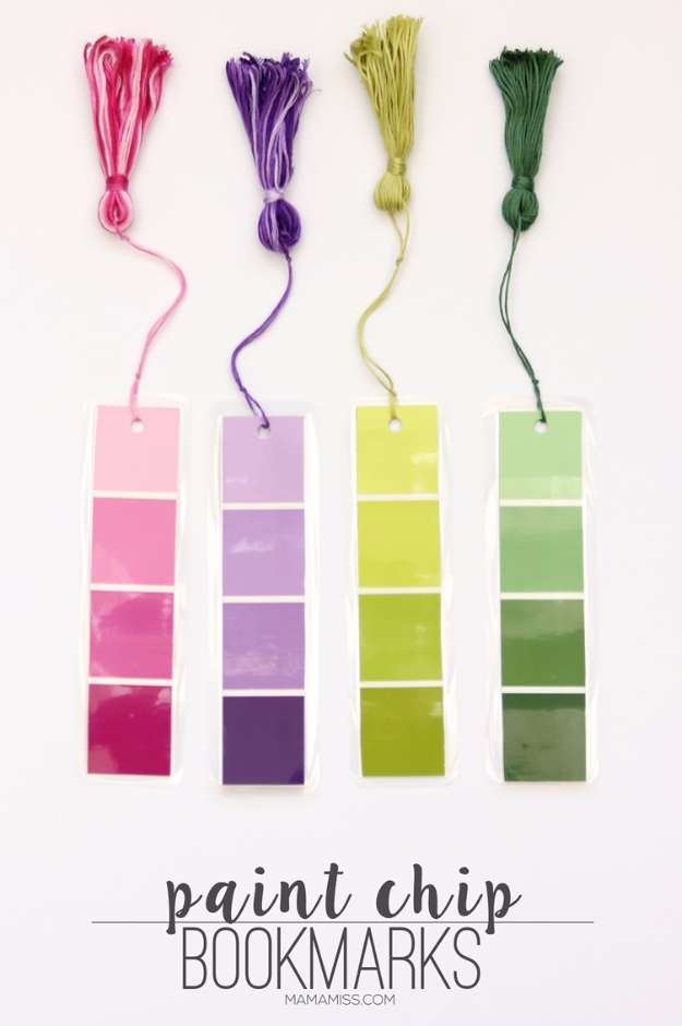 DIY Projects Made With Paint Chips - DIY Paint Chip Bookmarks - Best Creative Crafts, Easy DYI Projects You Can Make With Paint Chips - Cool Paint Chip Crafts and Project Tutorials - Crafty DIY Home Decor Ideas That Make Awesome DIY Gifts and Christmas Presents for Friends and Family #diy #crafts #paintchip #cheapcrafts