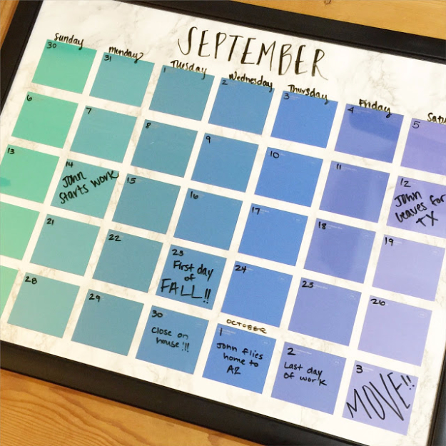 DIY Projects Made With Paint Chips - DIY Paint Chip Calendar - Best Creative Crafts, Easy DYI Projects You Can Make With Paint Chips - Cool Paint Chip Crafts and Project Tutorials - Crafty DIY Home Decor Ideas That Make Awesome DIY Gifts and Christmas Presents for Friends and Family #diy #crafts #paintchip #cheapcrafts