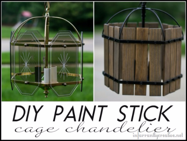 DIY Projects Made With Paint Sticks   DIY Paint Stick Cage Chandelier    Best Creative Crafts