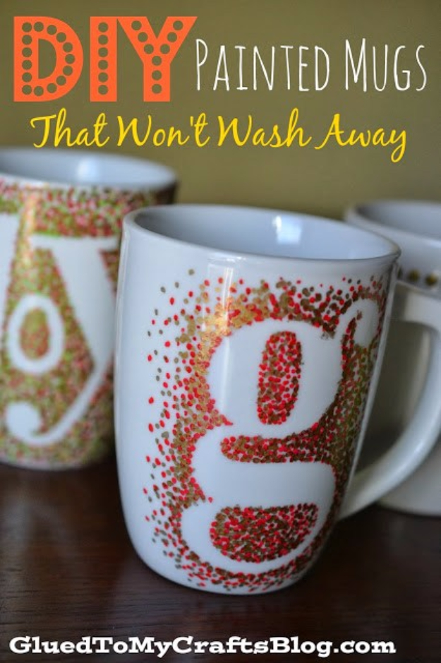 Best DIY Gifts for Girls - DIY Painted Mugs - Cute Crafts and DIY Projects that Make Cool DYI Gift Ideas for Young and Older Girls, Teens and Teenagers - Awesome Room and Home Decor for Bedroom, Fashion, Jewelry and Hair Accessories - Cheap Craft Projects To Make For a Girl -DIY Christmas Presents for Tweens #diygifts #girlsgifts