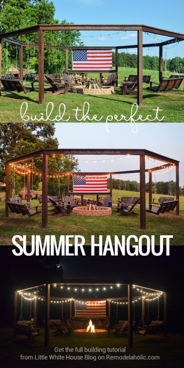 DIY Fireplace Ideas - DIY Pergola And Firepit With Swings - Do It Yourself Firepit Projects and Fireplaces for Your Yard, Patio, Porch and Home. Outdoor Fire Pit Tutorials for Backyard with Easy Step by Step Tutorials - Cool DIY Projects for Men #diyideas #outdoors #diy