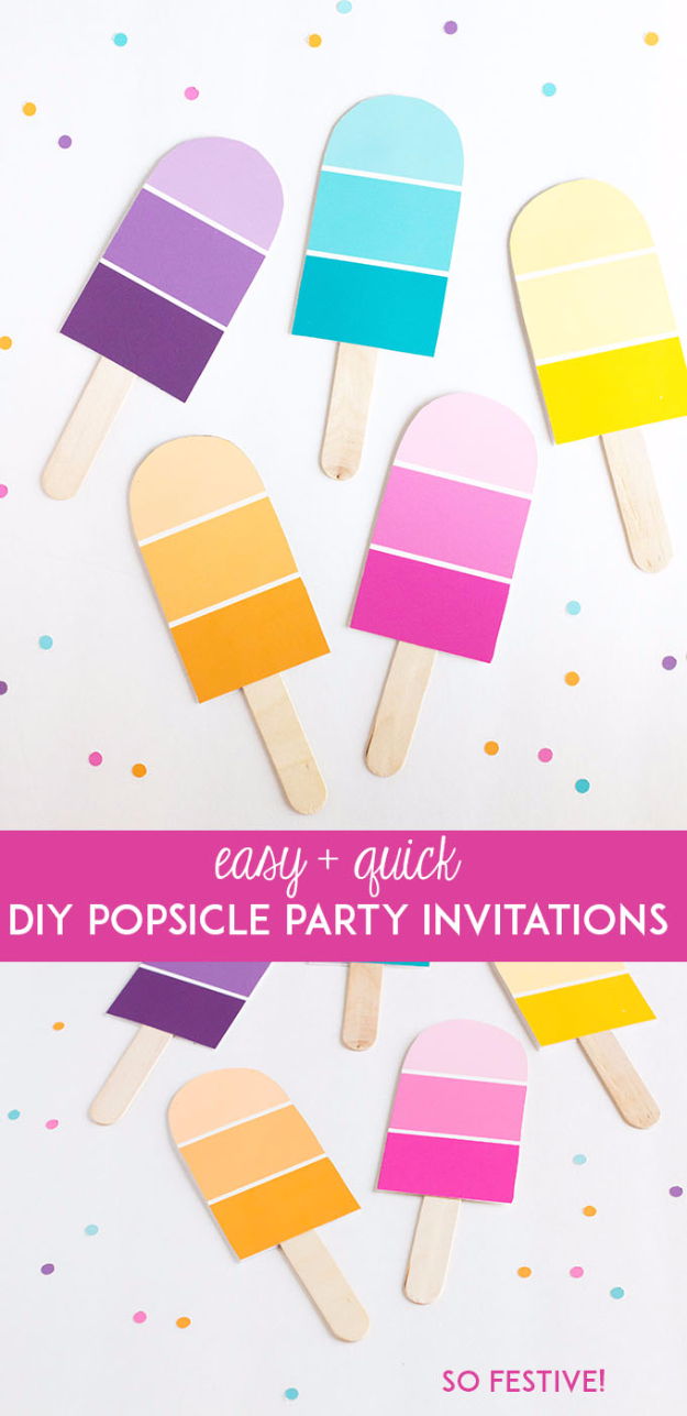 DIY Projects Made With Paint Chips - DIY Popsicle Party Invitations - Best Creative Crafts, Easy DYI Projects You Can Make With Paint Chips - Cool Paint Chip Crafts and Project Tutorials - Crafty DIY Home Decor Ideas That Make Awesome DIY Gifts and Christmas Presents for Friends and Family #diy #crafts #paintchip #cheapcrafts