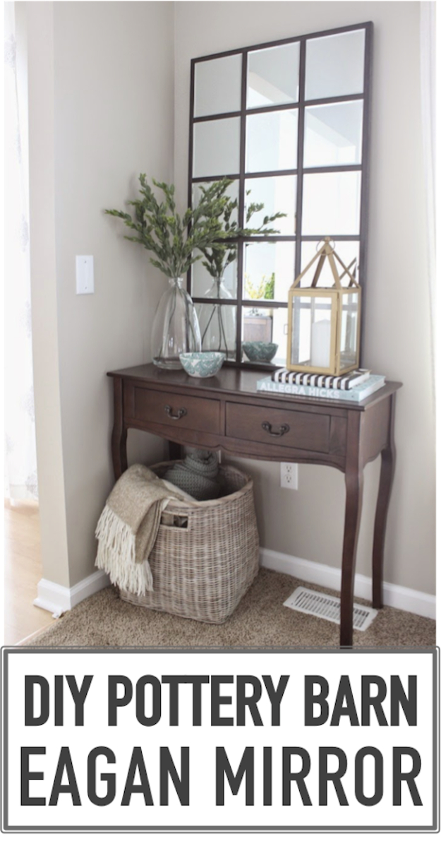 DIY Mirrors - DIY Pottery Barn Eagan Mirror - Best Do It Yourself Mirror Projects and Cool Crafts Using Mirrors - Home Decor, Bedroom Decor and Bath Ideas - Step By Step Tutorials With Instructions http://diyjoy.com/diy-mirrors