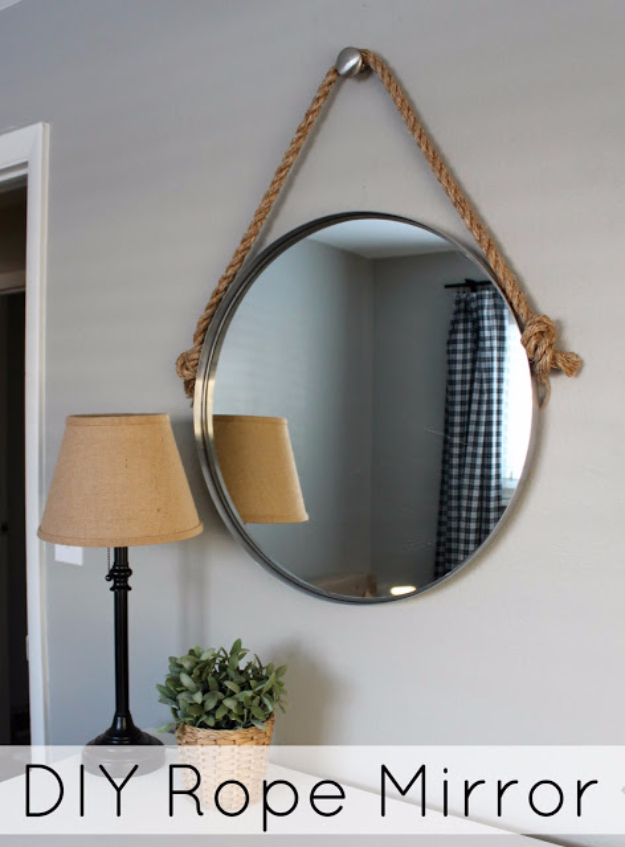 DIY Mirrors - DIY Pretty Rope Mirror - Best Do It Yourself Mirror Projects and Cool Crafts Using Mirrors - Home Decor, Bedroom Decor and Bath Ideas - Step By Step Tutorials With Instructions
