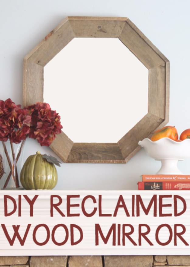 DIY Mirrors - DIY Reclaimed Wood Mirror - Best Do It Yourself Mirror Projects and Cool Crafts Using Mirrors - Home Decor, Bedroom Decor and Bath Ideas - Step By Step Tutorials With Instructions