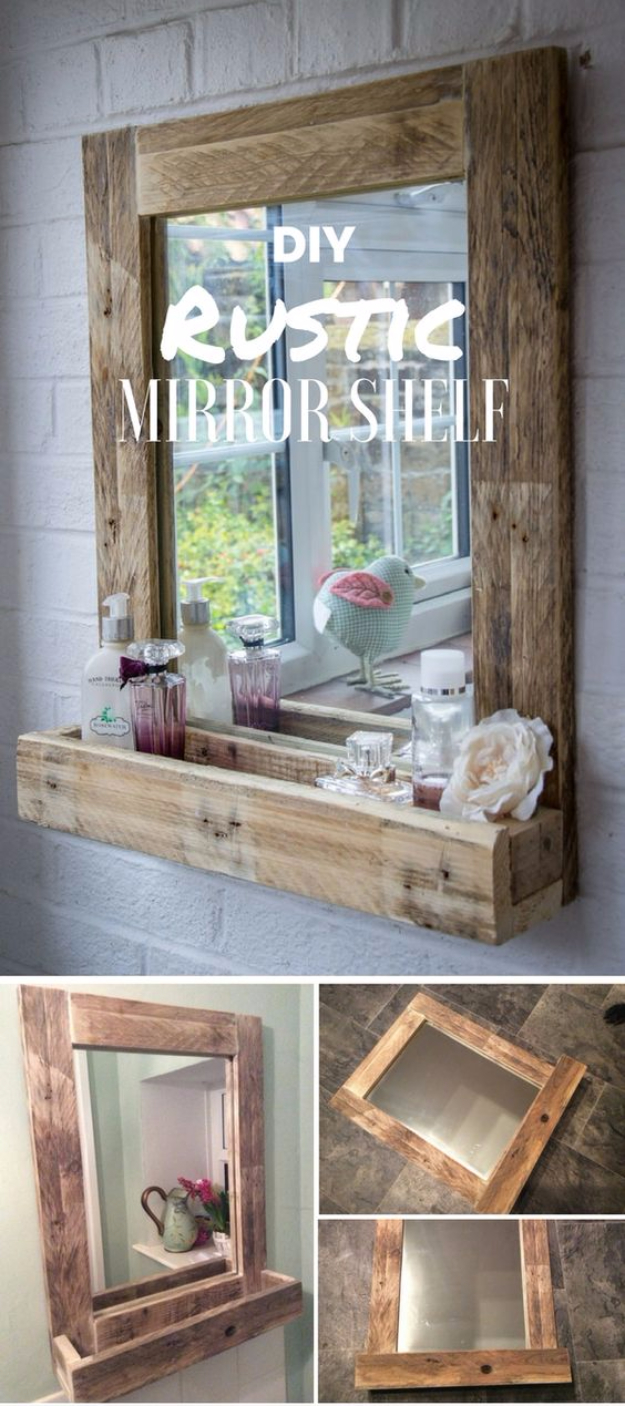 DIY Mirrors - DIY Rustic Mirror Shelf - Best Do It Yourself Mirror Projects and Cool Crafts Using Mirrors - Home Decor, Bedroom Decor and Bath Ideas - Step By Step Tutorials With Instructions