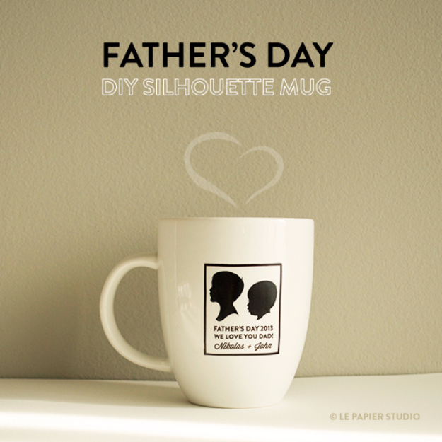 DIY Gifts for Dad - DIY Silhouette Mug - Best Craft Projects and Gift Ideas You Can Make for Your Father - Last Minute Presents for Birthday and Christmas - Creative Photo Projects, Gift Card Holders, Gift Baskets and Thoughtful Things to Give Fathers and Dads http://diyjoy.com/diy-gifts-for-dad