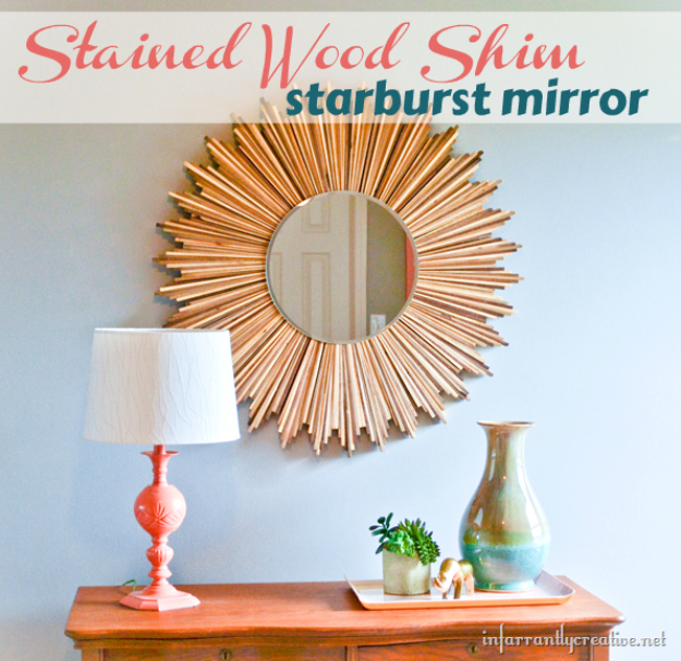 DIY Mirrors - DIY Stained Wood Shim Starburst Mirror - Best Do It Yourself Mirror Projects and Cool Crafts Using Mirrors - Home Decor, Bedroom Decor and Bath Ideas - Step By Step Tutorials With Instructions