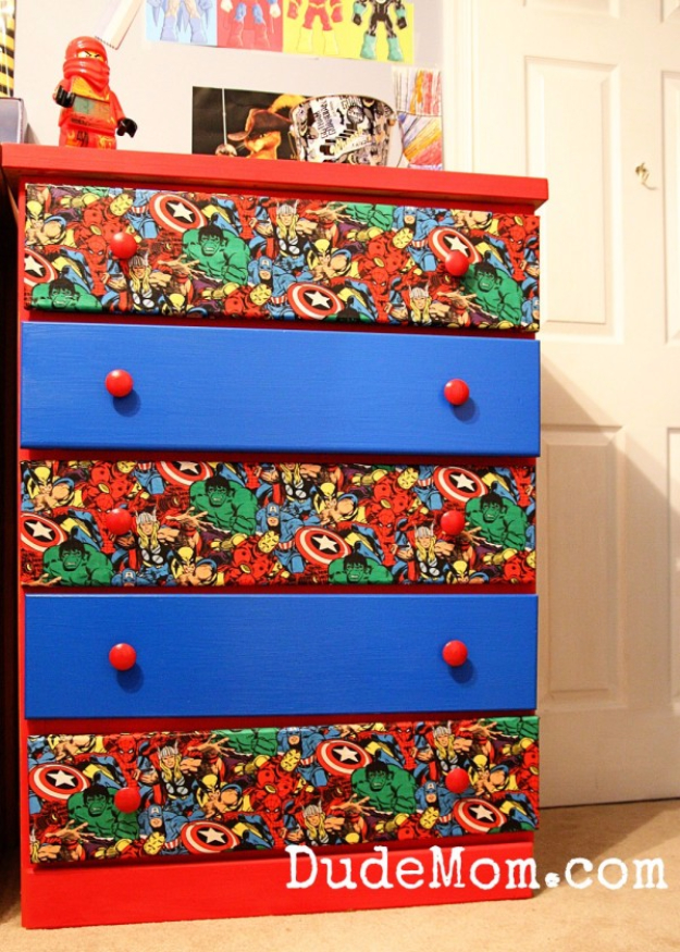 DIY Room Decor for Boys - DIY Superhero Dresser - Best Creative Bedroom Ideas for Boy Rooms - Wall Art, Lamps, Rugs, Lamps, Beds, Bedding and Furniture You Can Make for Teens, Tweens and Teenagers #diy #homedecor #boys