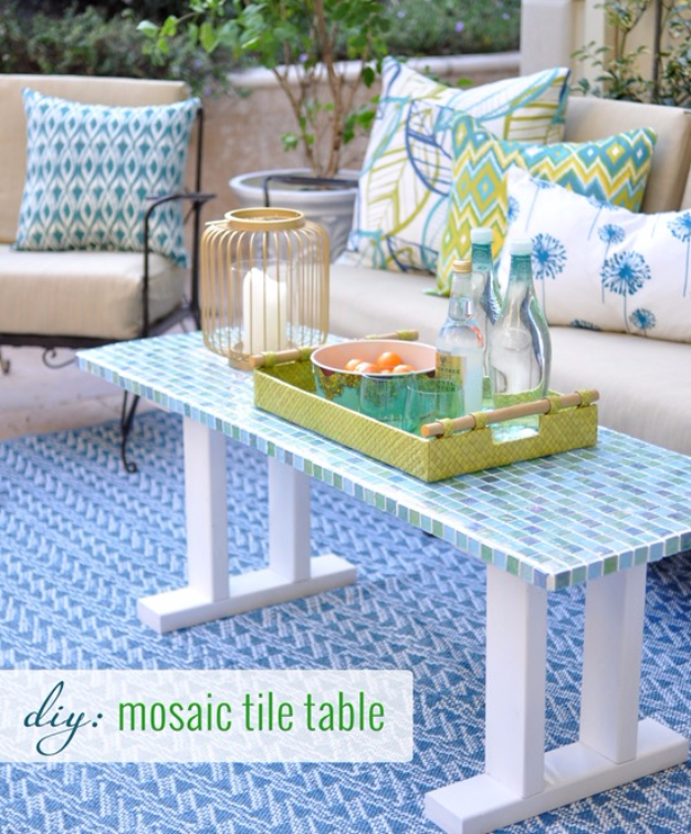 DIY Projects Made With Broken Tile - DIY Tile Outdoor Table - Best Creative Crafts, Easy DYI Projects You Can Make With Tiles - Mosaic Patterns and Crafty DIY Home Decor Ideas That Make Awesome DIY Gifts and Christmas Presents for Friends and Family