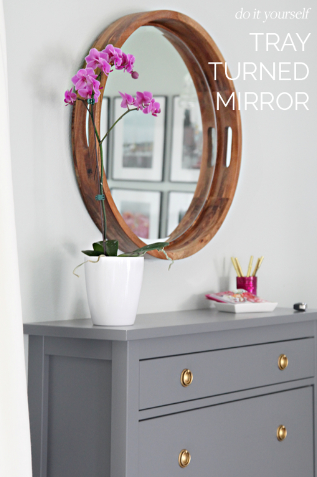 DIY Mirrors - DIY Tray Turned Mirror - Best Do It Yourself Mirror Projects and Cool Crafts Using Mirrors - Home Decor, Bedroom Decor and Bath Ideas - Step By Step Tutorials With Instructions