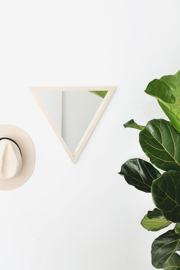 DIY Mirrors - DIY Triangle Mirror - Best Do It Yourself Mirror Projects and Cool Crafts Using Mirrors - Home Decor, Bedroom Decor and Bath Ideas - Step By Step Tutorials With Instructions