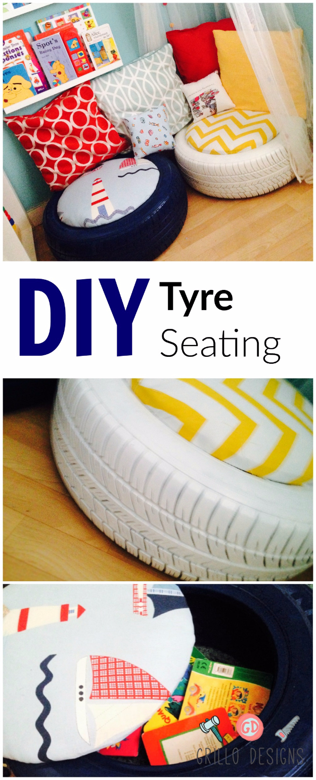 DIY Room Decor for Boys - DIY Tyre Seating - Best Creative Bedroom Ideas for Boy Rooms - Wall Art, Lamps, Rugs, Lamps, Beds, Bedding and Furniture You Can Make for Teens, Tweens and Teenagers #diy #homedecor #boys