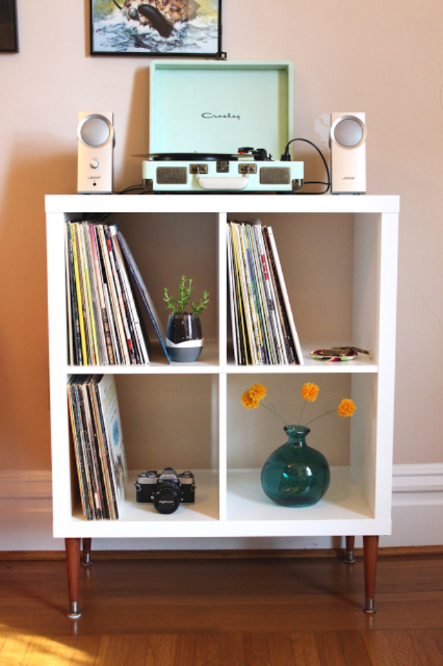 Best IKEA Hacks and DIY Hack Ideas for Furniture Projects and Home Decor from IKEA - DIY Vinyl Record Shelf - Creative IKEA Hack Tutorials for DIY Platform Bed, Desk, Vanity, Dresser, Coffee Table, Storage and Kitchen, Bedroom and Bathroom Decor #ikeahacks #diy