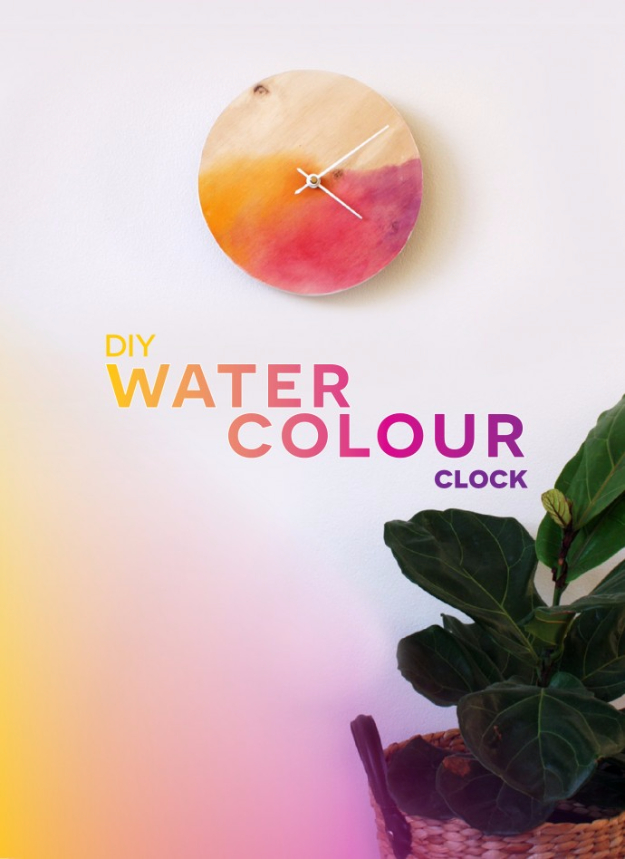 Best DIY Gifts for Girls Rooms- DIY Watercolor Clock - Cute Crafts and DIY Projects that Make Cool DYI Gift Ideas for Young and Older Girls, Teens and Teenagers - Awesome Room and Home Decor for Bedroom, Fashion, Jewelry and Hair Accessories - Cheap Craft Projects To Make For a Girl -DIY Christmas Presents for Tweens #diygifts #girlsgifts