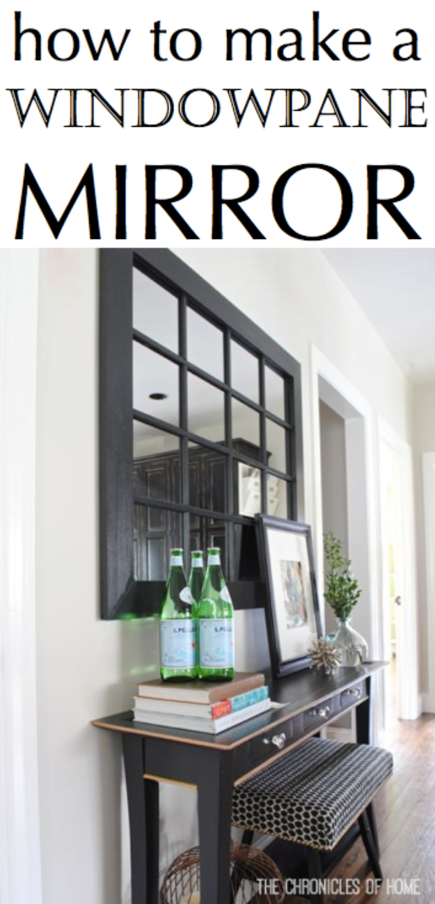 DIY Mirrors - DIY Windowpane Mirror - Best Do It Yourself Mirror Projects and Cool Crafts Using Mirrors - Home Decor, Bedroom Decor and Bath Ideas - Step By Step Tutorials With Instructions
