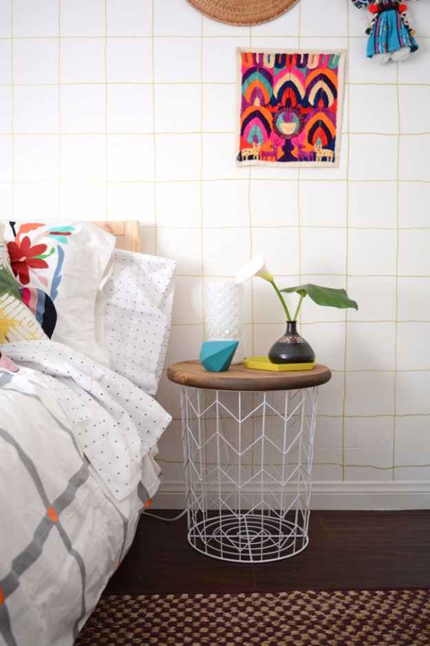 DIY Room Decor for Boys - DIY Wire Basket Side Table - Best Creative Bedroom Ideas for Boy Rooms - Wall Art, Lamps, Rugs, Lamps, Beds, Bedding and Furniture You Can Make for Teens, Tweens and Teenagers #diy #homedecor #boys