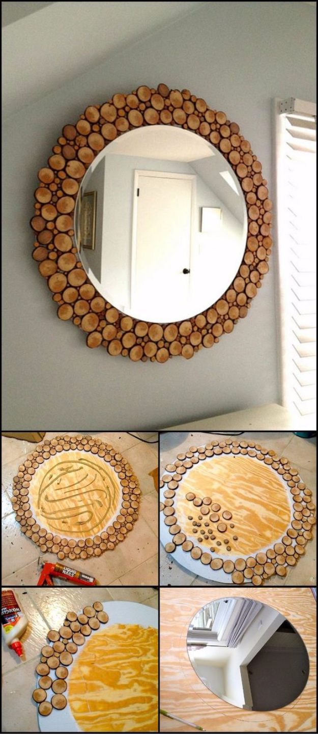 DIY Mirrors - DIY Wood Slice Mirror - Best Do It Yourself Mirror Projects and Cool Crafts Using Mirrors - Home Decor, Bedroom Decor and Bath Ideas - Step By Step Tutorials With Instructions
