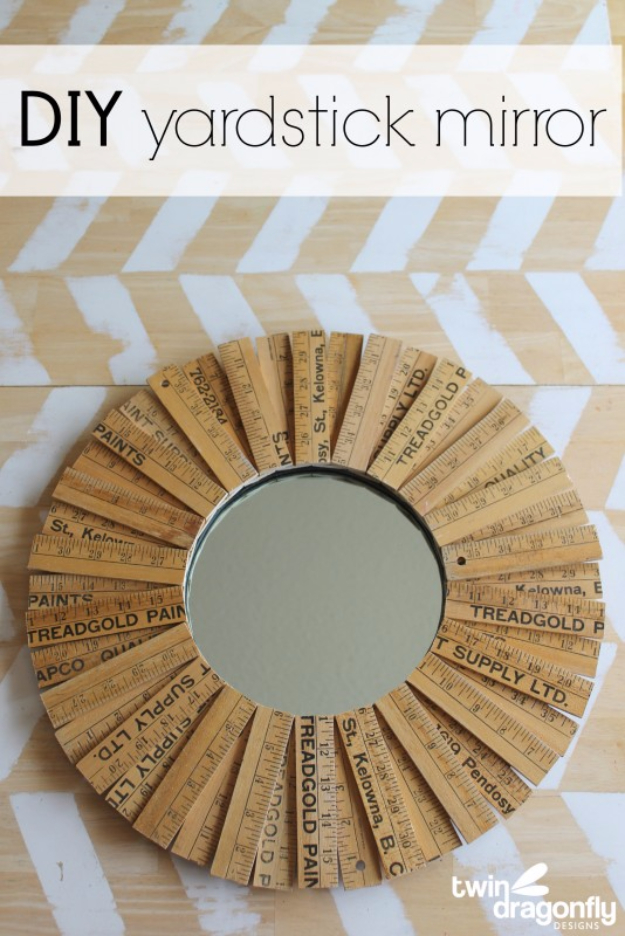 DIY Mirrors - DIY Yardstick Mirror - Best Do It Yourself Mirror Projects and Cool Crafts Using Mirrors - Home Decor, Bedroom Decor and Bath Ideas - Step By Step Tutorials With Instructions