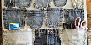 Watch How She Repurposes Her Old Jeans Into This Brilliant Wall Organizer!