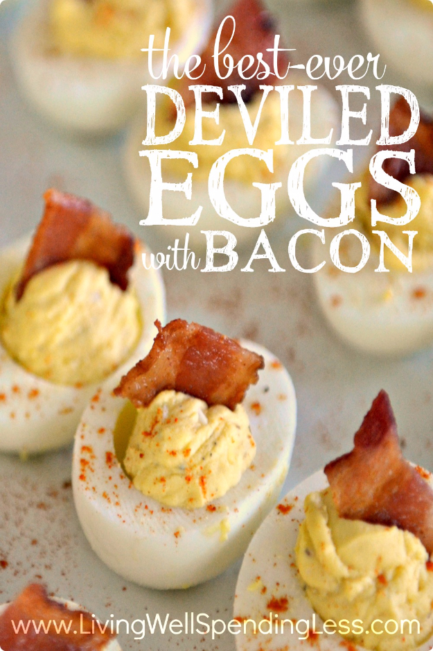 Best Thanksgiving Dinner Recipes - Deviled Eggs With Bacon - Easy DIY Desserts, Sides, Sauces, Main Courses, Vegetables, Pie and Side Dishes. Simple Gravy, Cranberries, Turkey and Pies With Step by Step Tutorials