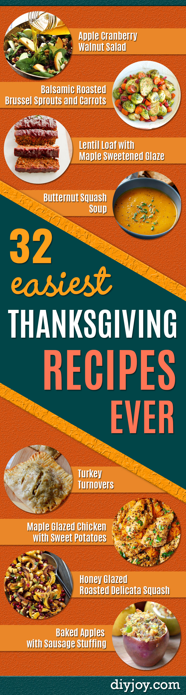 Easy Thanksgiving Recipes - Best Simple and Quick Recipe Ideas for Thanksgiving Dinner. Cranberries, Turkey, Gravy, Sauces, Sides, Vegetables, Dips and Desserts - DIY Cooking Tutorials With Step by Step Instructions - Ideas for A Crowd, Parties and Last Minute Recipes http://diyjoy.com/easy-thanksgiving-recipes