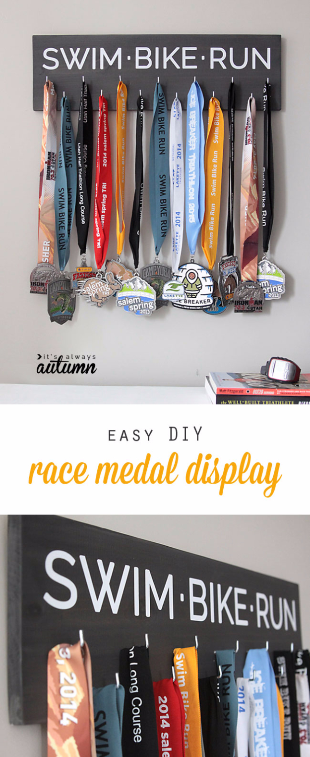 DIY Gifts for Dad - Easy DIY Race Medal Holder Display - Best Craft Projects and Gift Ideas You Can Make for Your Father - Last Minute Presents for Birthday and Christmas - Creative Photo Projects, Gift Card Holders, Gift Baskets and Thoughtful Things to Give Fathers and Dads http://diyjoy.com/diy-gifts-for-dad