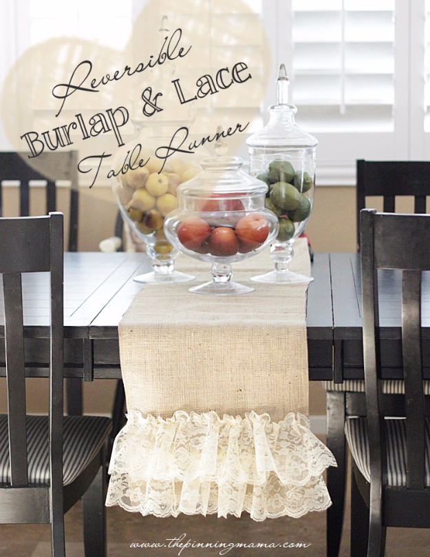 DIY Gifts To Sew For Friends - Easy DIY Reversible Burlap And Lace Table Runner - Quick and Easy Sewing Projects and Free Patterns for Best Gift Ideas and Presents - Creative Step by Step Tutorials for Beginners - Cute Home Decor, Accessories, Kitchen Crafts and DIY Fashion Ideas #diy #crafts #sewing