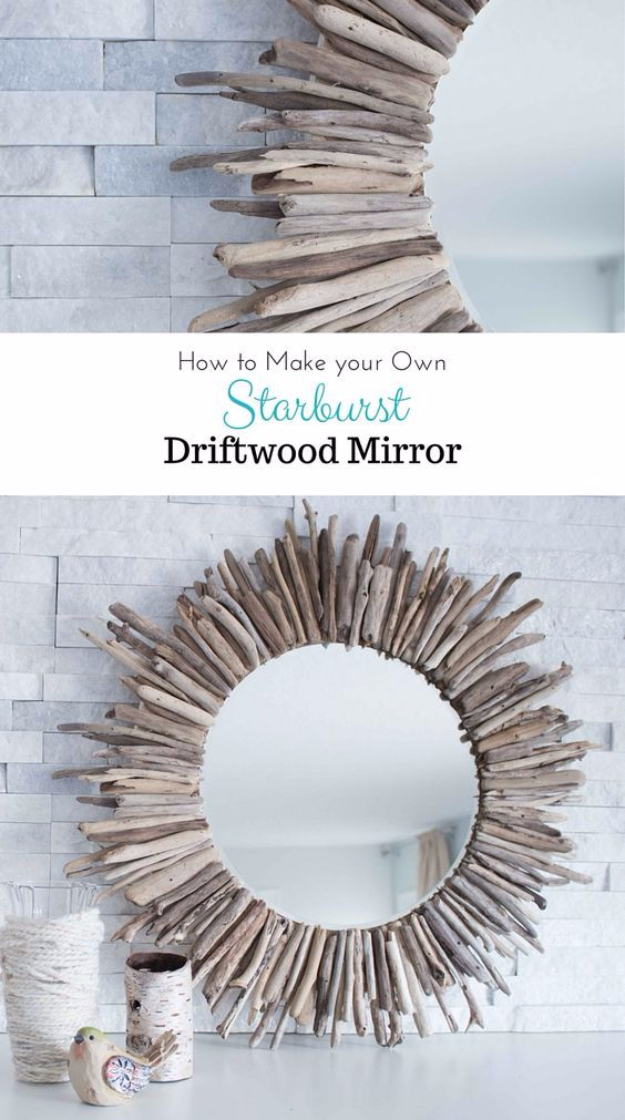 DIY Mirrors - Easy DIY Starburst Driftwood Mirror - Best Do It Yourself Mirror Projects and Cool Crafts Using Mirrors - Home Decor, Bedroom Decor and Bath Ideas - Step By Step Tutorials With Instructions