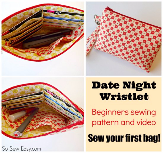 DIY Gifts To Sew For Friends - Easy Date Night Wristlet - Quick and Easy Sewing Projects and Free Patterns for Best Gift Ideas and Presents - Creative Step by Step Tutorials for Beginners - Cute Home Decor, Accessories, Kitchen Crafts and DIY Fashion Ideas #diy #crafts #sewing