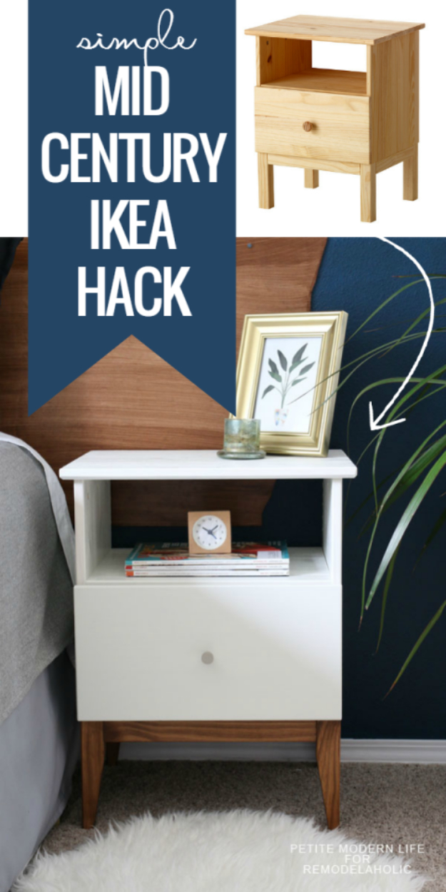 Best IKEA Hacks and DIY Hack Ideas for Furniture Projects and Home Decor from IKEA - Easy Mid Century IKEA Tarva Nightstand Hack - Creative IKEA Hack Tutorials for DIY Platform Bed, Desk, Vanity, Dresser, Coffee Table, Storage and Kitchen, Bedroom and Bathroom Decor #ikeahacks #diy