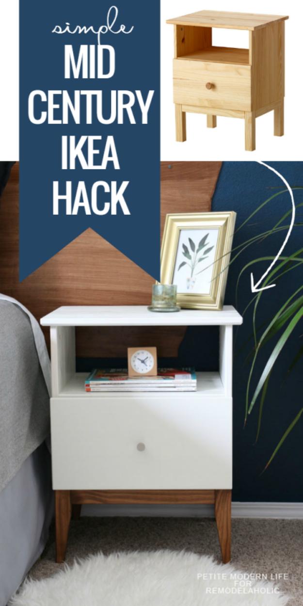 Best IKEA Hacks and DIY Hack Ideas for Furniture Projects and Home Decor from IKEA - Easy Mid Century IKEA Tarva Nightstand Hack - Creative IKEA Hack Tutorials for DIY Platform Bed, Desk, Vanity, Dresser, Coffee Table, Storage and Kitchen, Bedroom and Bathroom Decor http://diyjoy.com/best-ikea-hacks