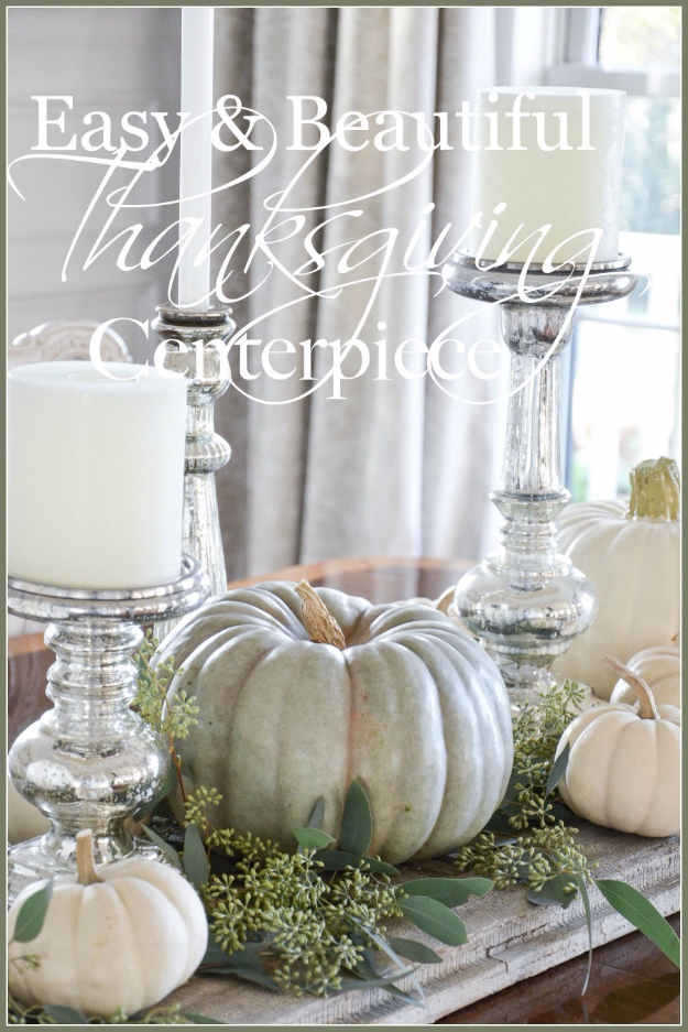 DIY Thanksgiving Decor Ideas - Easy Pumpkin Thanksgiving Tablescape - Fall Projects and Crafts for Thanksgiving Dinner Centerpieces, Vases, Arrangements With Leaves and Pumpkins - Easy and Cheap Crafts to Make for Home Decor #diy