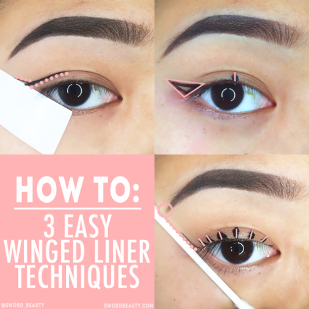 DIY Beauty Hacks - Easy Winged Liner Technique - Cool Tips for Makeup, Hair and Nails - Step by Step Tutorials for Fixing Broken Makeup, Eye Shadow, Mascara, Foundation - Quick Beauty Ideas for Best Looks in A Hurry http://diyjoy.com/diy-beauty-hacks